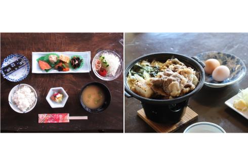 (左)朝食一例/(右)夕食一例